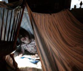 Marissa in tent